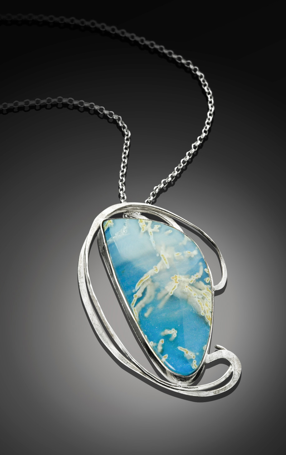 By the Seashore Blue Agate and Hand Forged Silver Pendant by Kaelin Design Art Jewelry