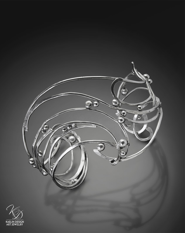 Wave Cuff Hand Forged Silver Bracelet by Kaelin Design