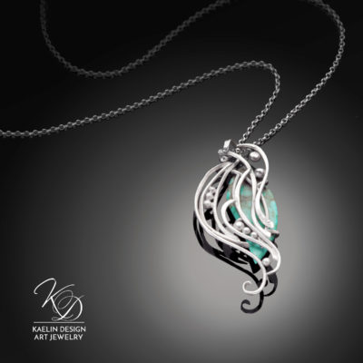 Turbulent Waters Turquoise and Hand Forged Silver Art Jewelry Pendant by Kaelin Design