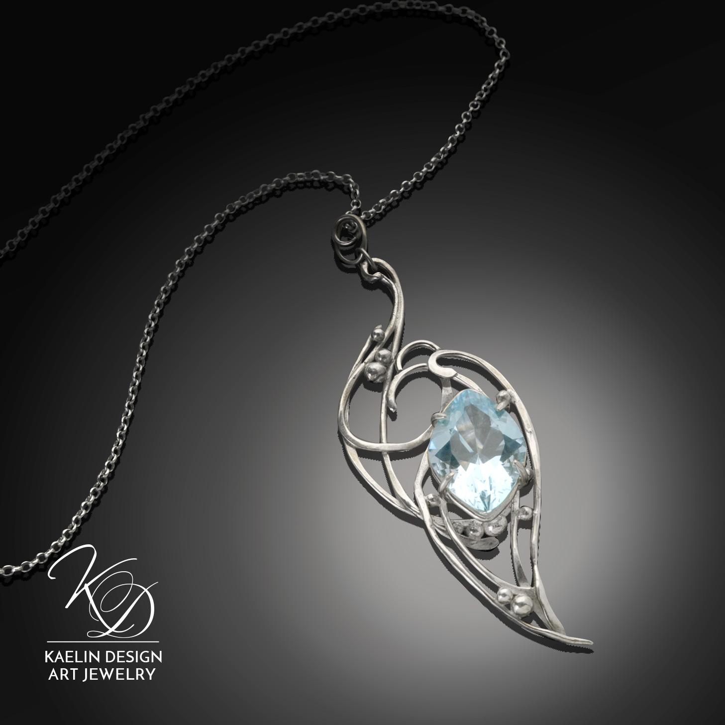 Lady of Shalott Blue Topaz Fine Art Jewelry Pendant by Kaelin Design