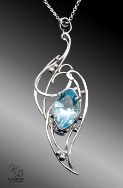 Lady of Shalott Blue Topaz Fine Art Jewelry Pendant by Kaelin Design