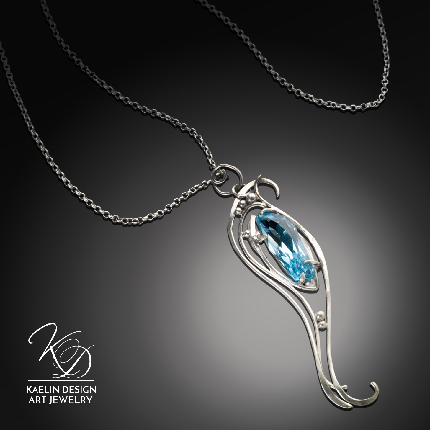 Upon the Waters Blue Topaz Fine Art Jewelry Silver Pendant by Kaelin Design
