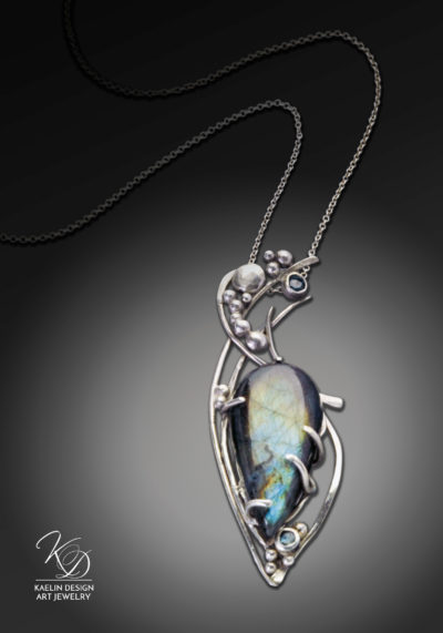 Whisper of Paradise Labradorite and Topaz Fine Art Pendant by Kaelin Design