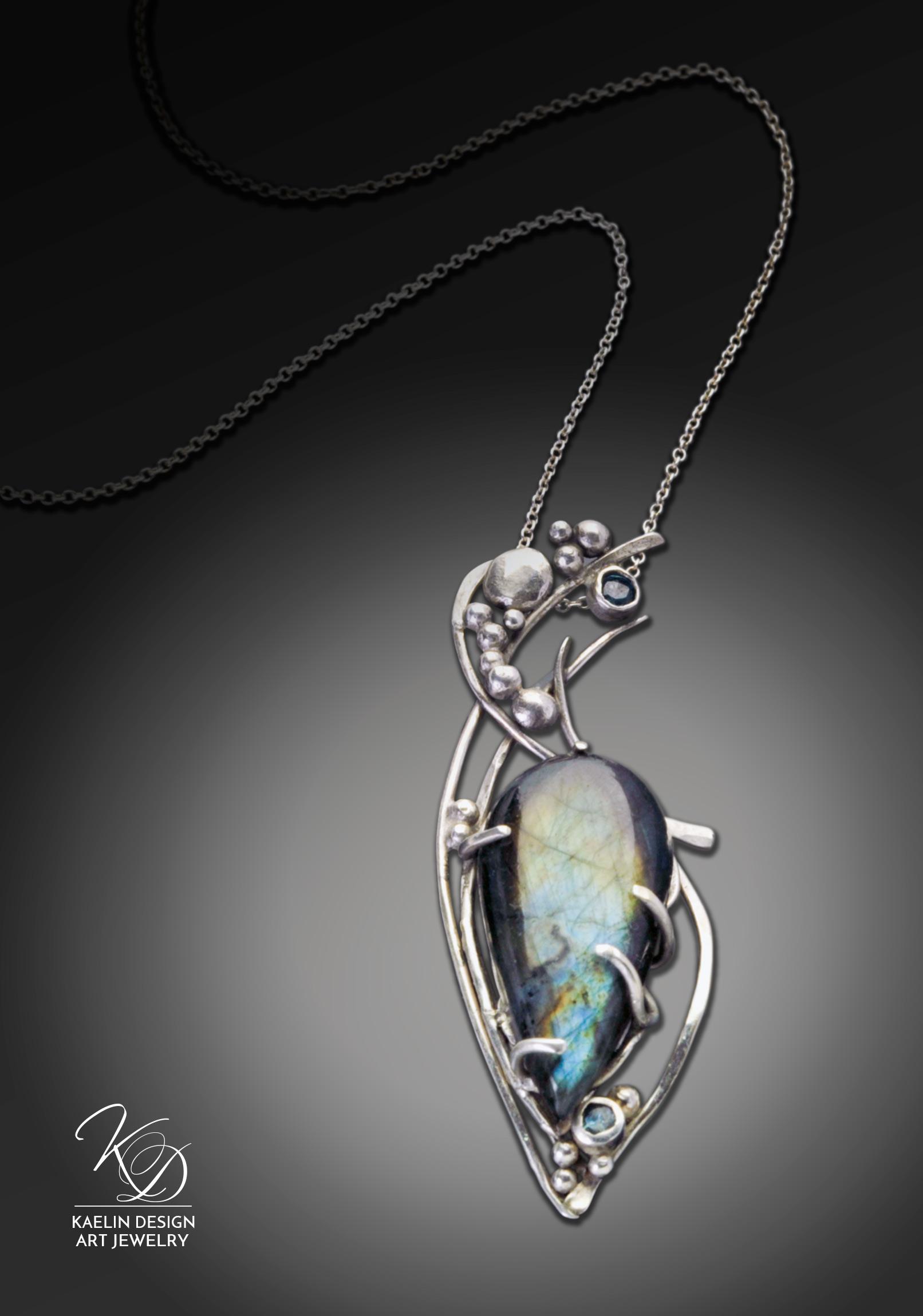 Whisper of Paradise Labradorite and Topaz Fine Art Pendant by Kaelin Design