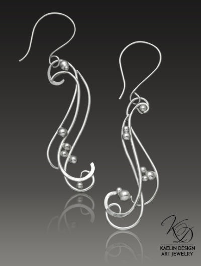 Rushing Waters hand forged silver earrings by Kaelin Design