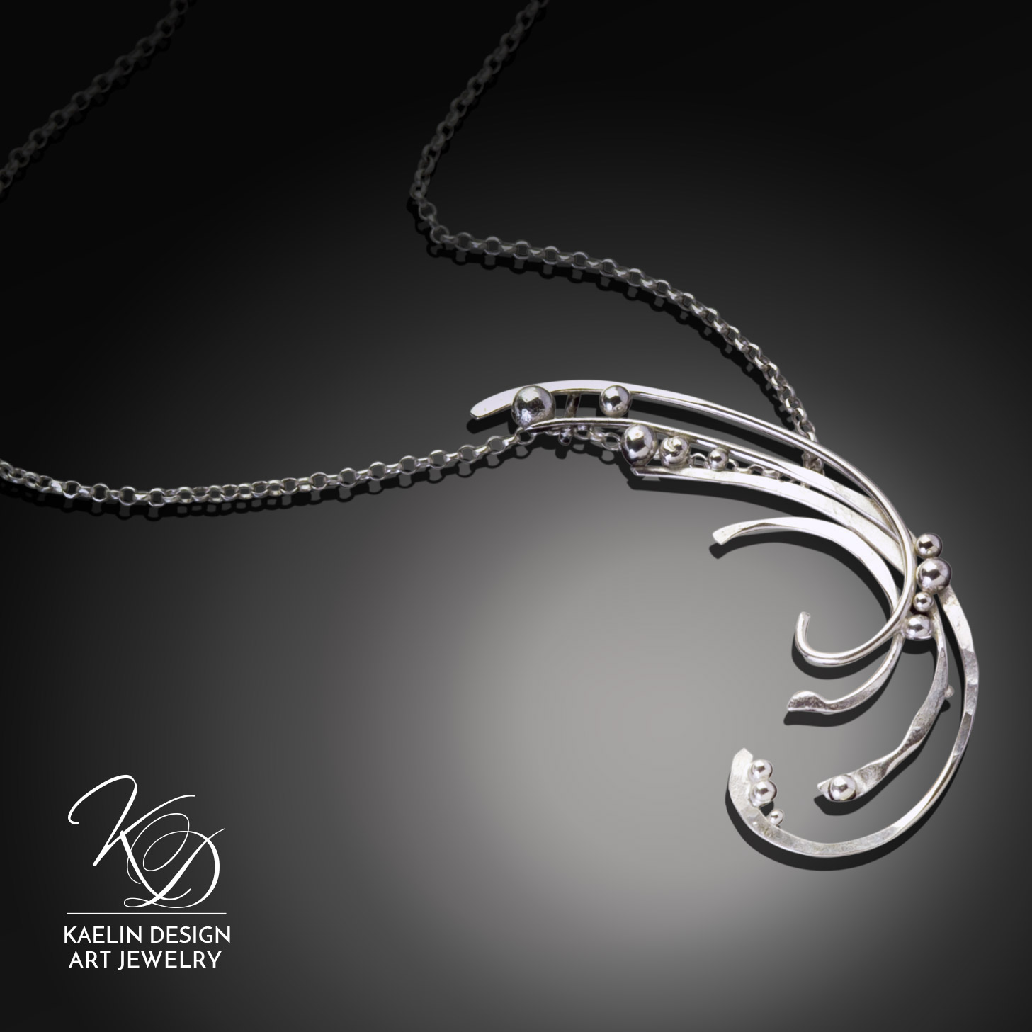 Swept Away Fine Art Jewelry Pendant in Hand Forged Sterling Silver by Kaelin Design