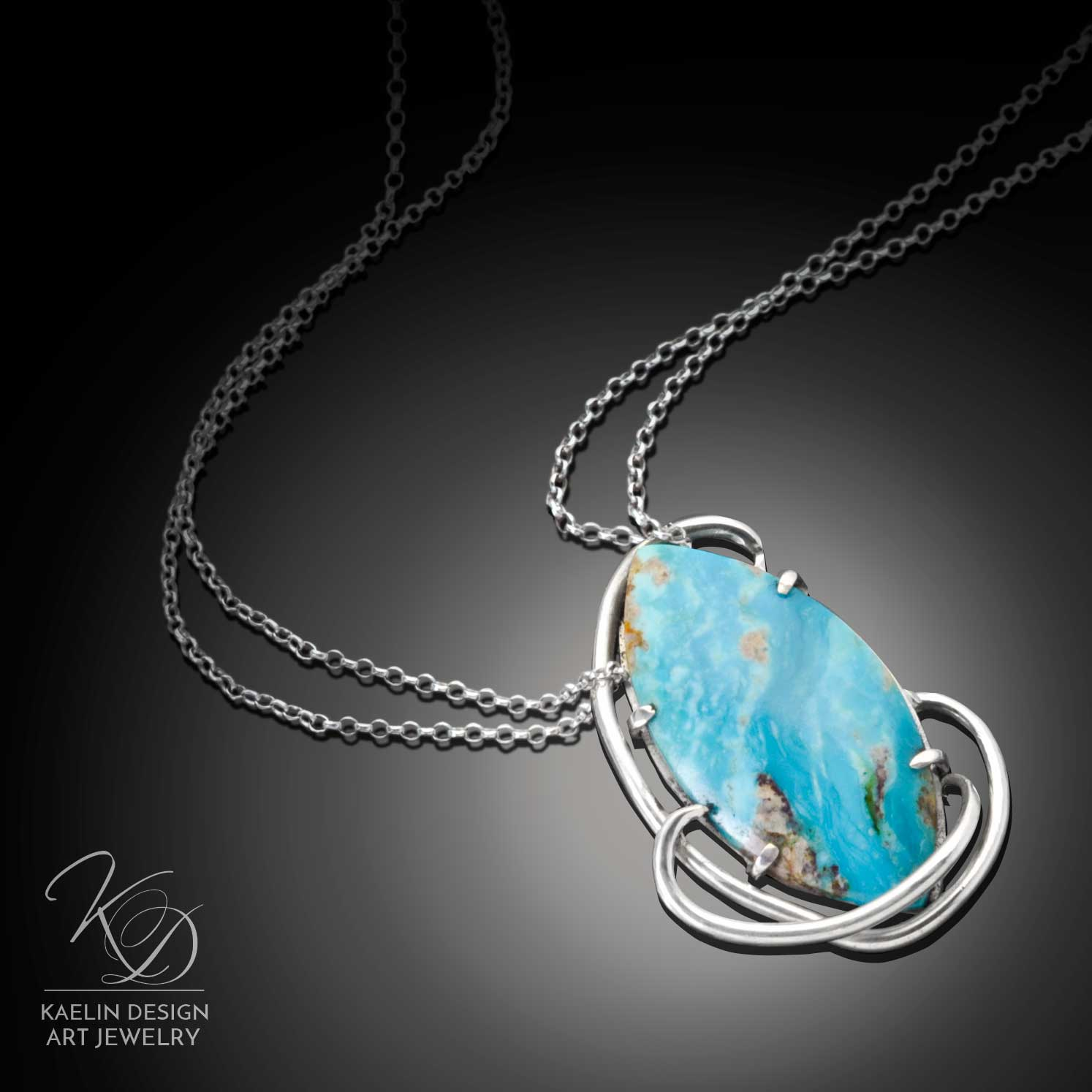 Sea Swept Turquoise Art Jewelry Pendant by Kaelin Design