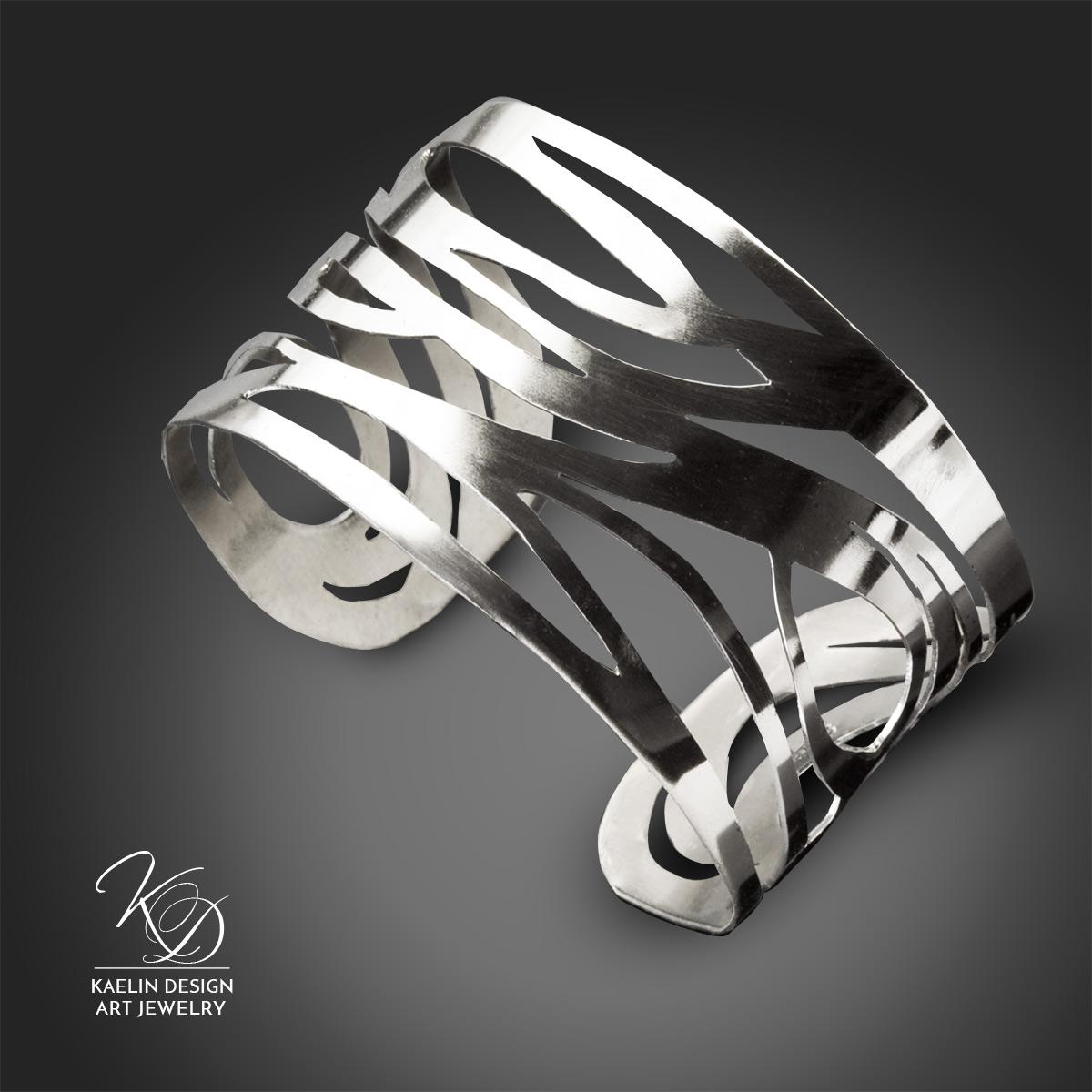 Undercurrents forged Argentium Silver cuff bracelet by Kaelin Design Fine Art Jewelry