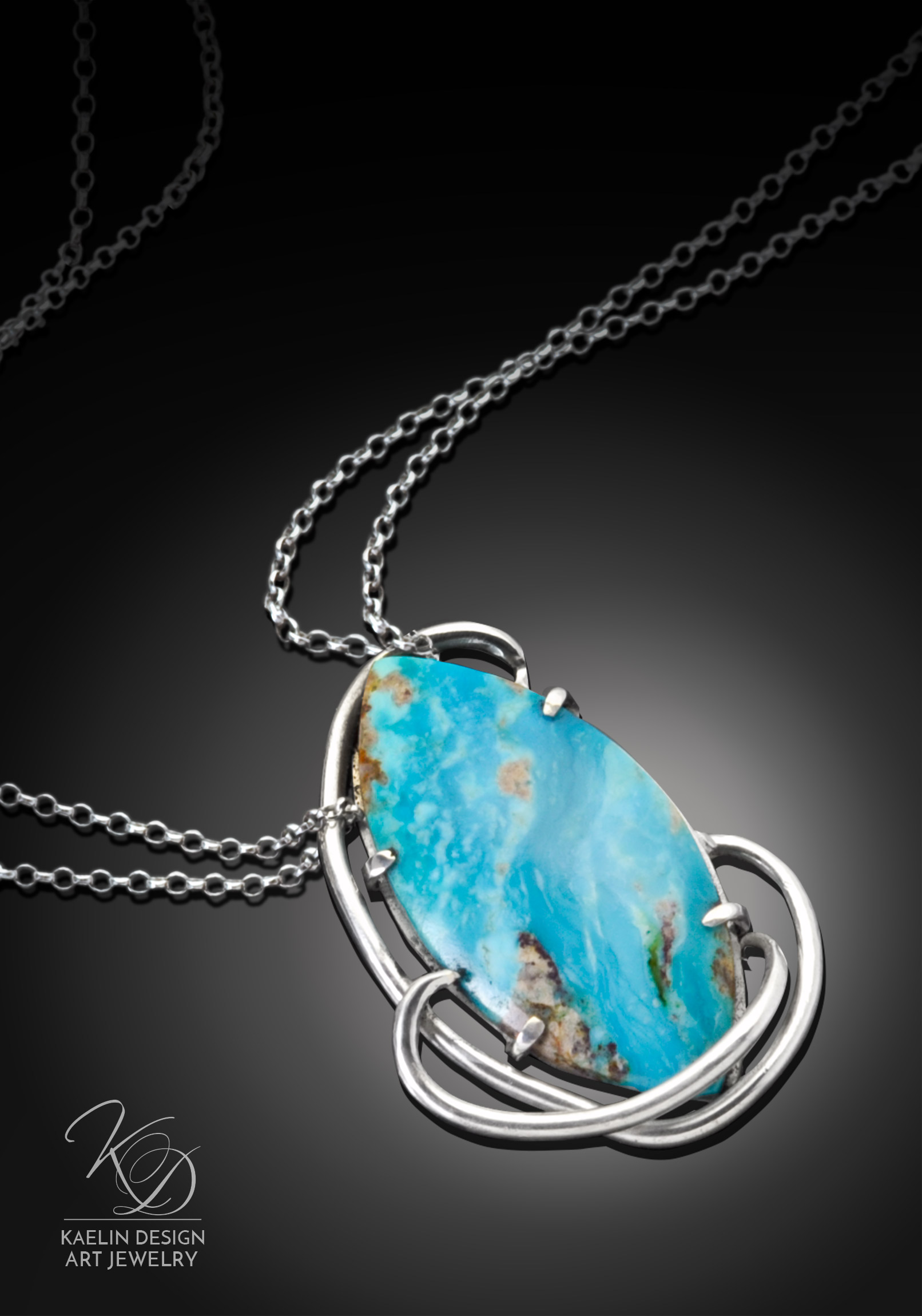 Sea Swept Art Jewelry Turquoise Pendant by Kaelin Design