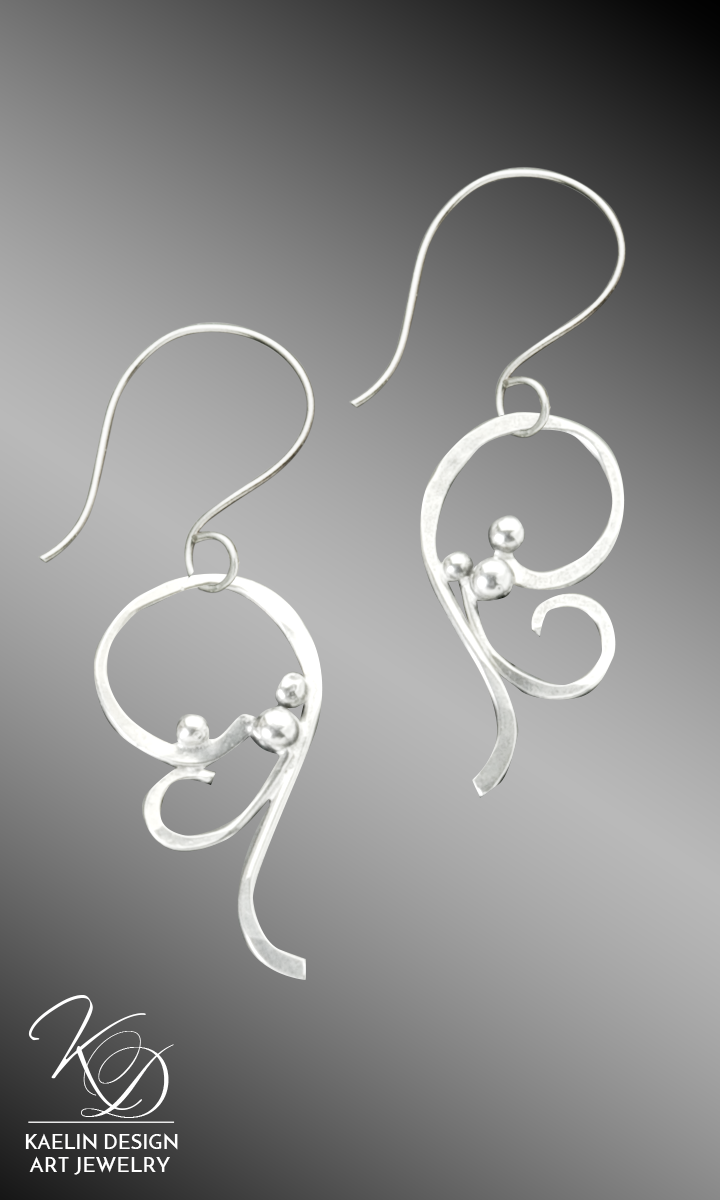"""Froth"" Hand Forged Sterling Silver Earrings by Kaelin Design Art Jewelry inspired by the Ocean"