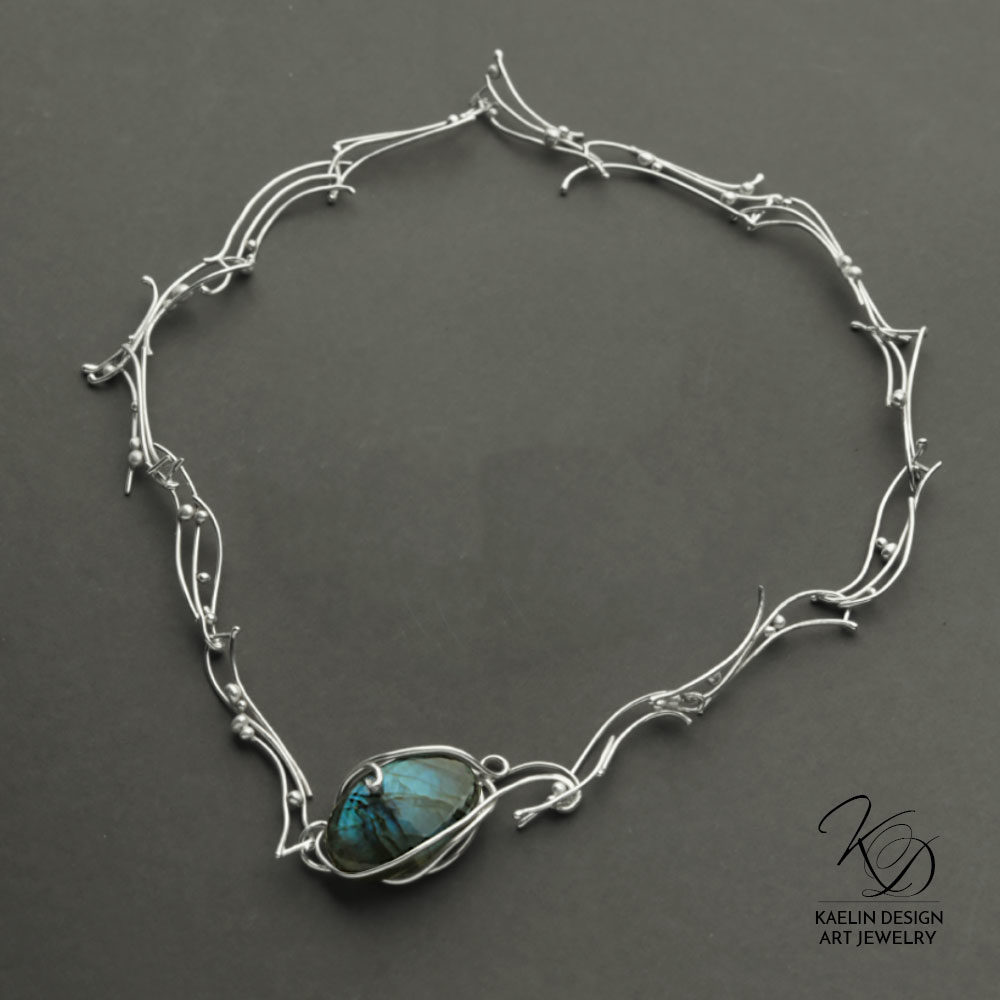 Turbulent Waters Labradorite Blue Art Jewelry Necklace