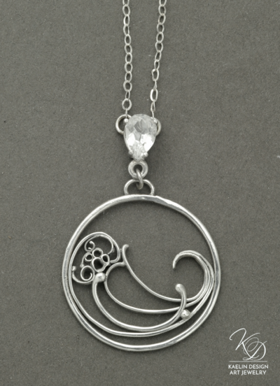 Wave Break Silver Ocean Art jewelry pendant by Kaelin Design