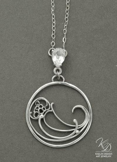 Wave Break Silver Ocean Art jewelry pendant by Kaelin Design