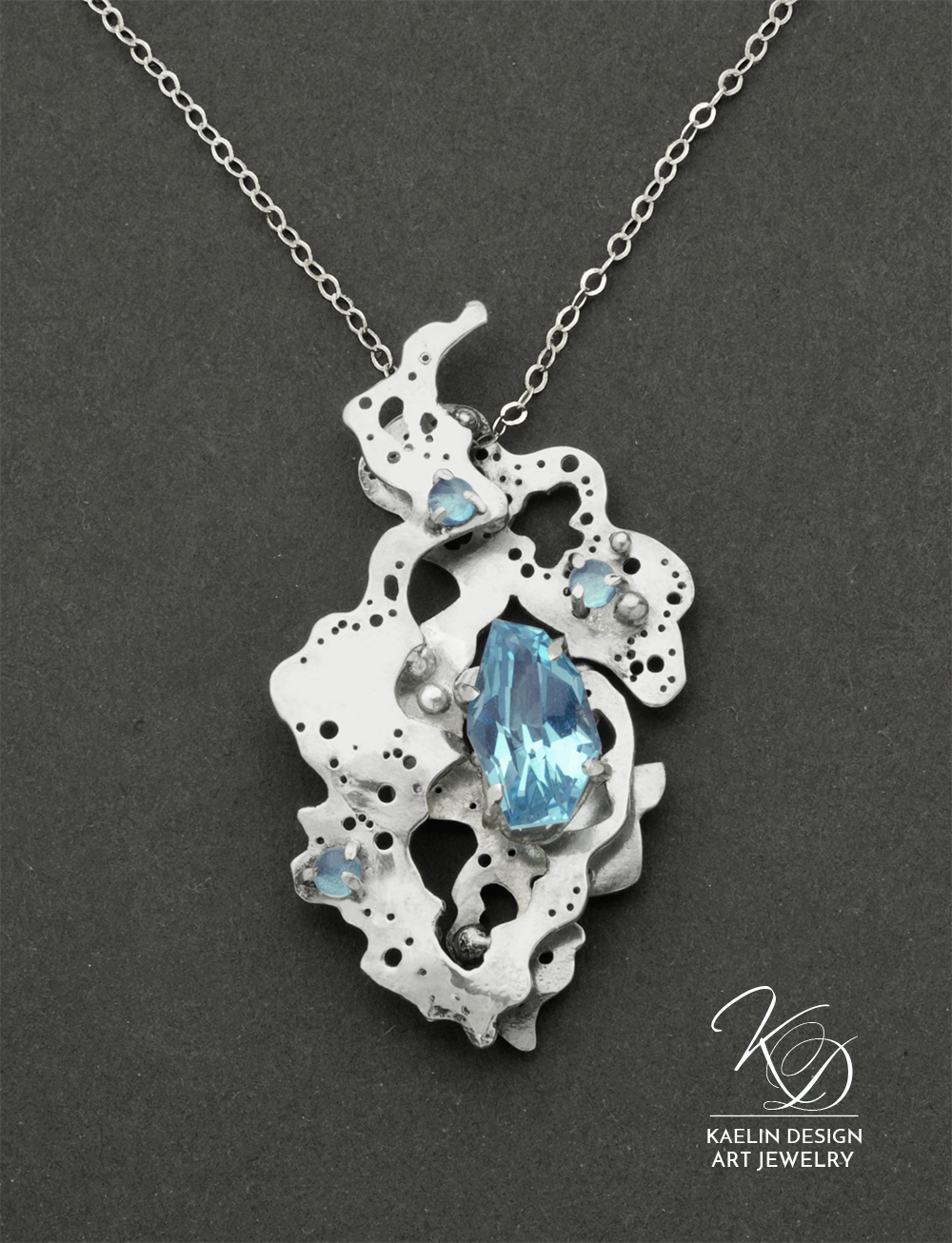 Ocean's Foam Fine Art Jewelry Pendant by Kaelin Design