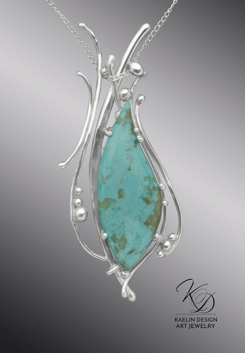 Ocean's Song Turquoise Fine Art Pendant in hand forged Silver by Kaelin Design