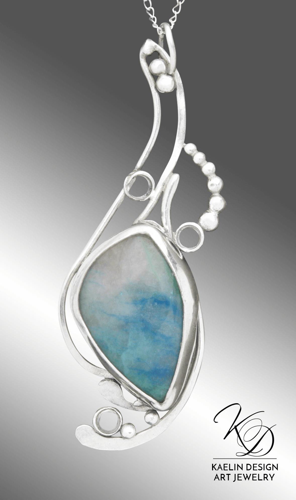 Spindrift Chrysocolla Fine Art Pendant by Kaelin Design