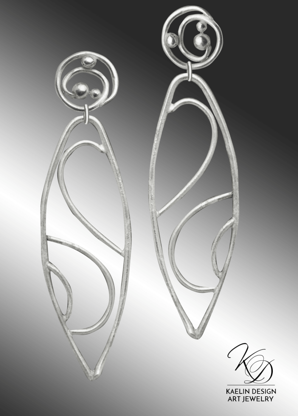 Onami Hand Forged Silver Wave Earrings inspired by Hamonshu by Yuzan Mori