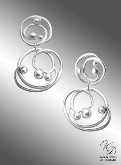 Kado Wave Hand Forged Silver Earrings by Kaelin Design Fine Art Jewelry