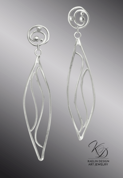 Furo Hand Forged Silver Wave Earrings inspired by Hamonshu by Yuzan Mori