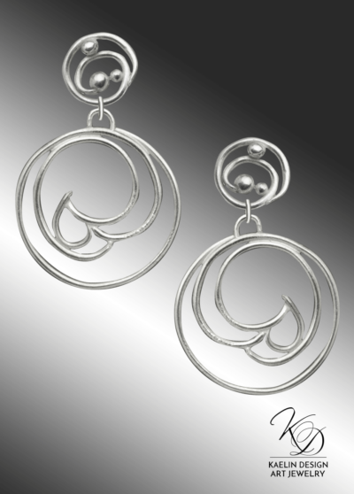 Shuha Hand Forged Silver Wave Earrings inspired by Hamonshu by Yuzan Mori