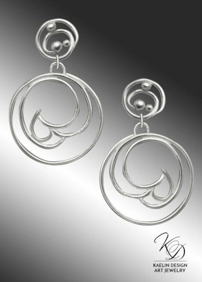 Shuha Hand Forged Silver Wave Earrings inspired by Hamonshu by Yuzan Mori