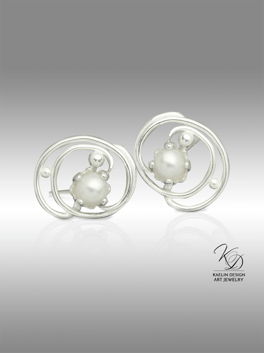 Pearl Tides Fine Art Jewelry Button Earrings by Kaelin Design