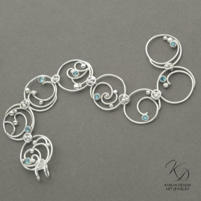 Hand Forged Sea Foam Silver Bracelet with London Blue Topaz by Kaelin Design Fine Art Jewelry