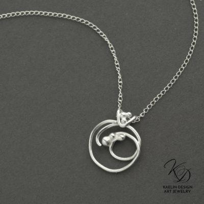 Seafoam Silver Ocean Art jewelry pendant by Kaelin Design
