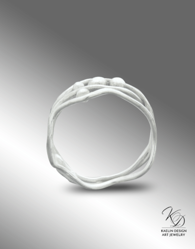 Seafoam Silver Ocean Inspired Ring by Kaelin Design Fine Art Jewelry
