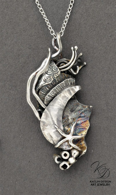 Reef Hand Forged Sterling Silver Art Sculpture Pendant by Kaelin Design