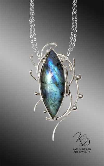 Briny Depths Hand Forged Silver and Labradorite Fine Art Jewelry Pendant