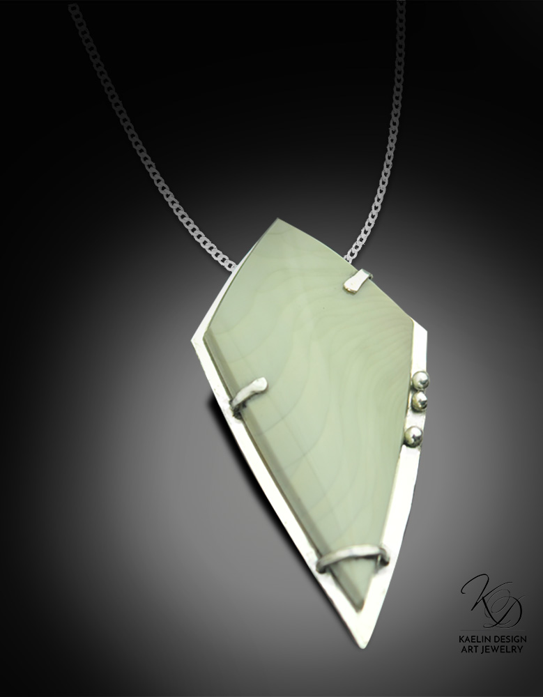 Capture the Wind Jasper and Sterling Silver Art Pendant by Kaelin Design