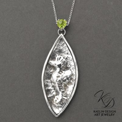 Seahorse Hand Forged Repousse Sterling Silver and Peridot Fine Art Pendant by Kaelin Design