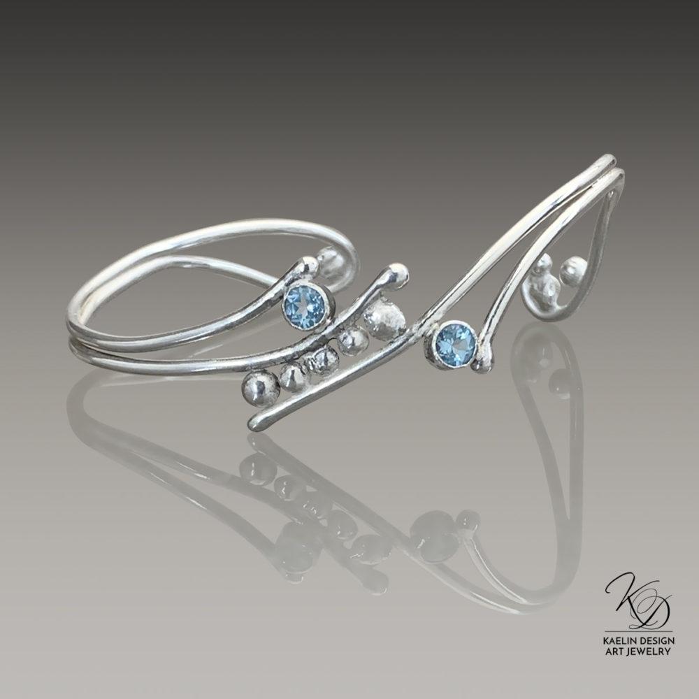 Topaz Foam Ocean Inspired Sterling Silver Hand Forged Art Jewelry Cuff Bracelet by Kaelin Design