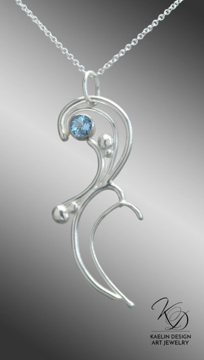 Talise Blue Topaz and Hand Forged Sterling Silver Art Jewelry Pendant by Kaelin Design