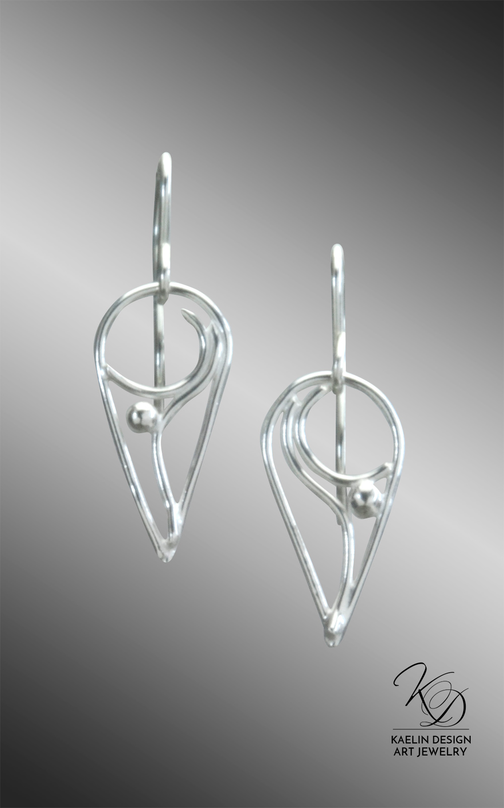 Anahita Sterling Silver Earrings Hand Forged by Kaelin Design Art Jewelry
