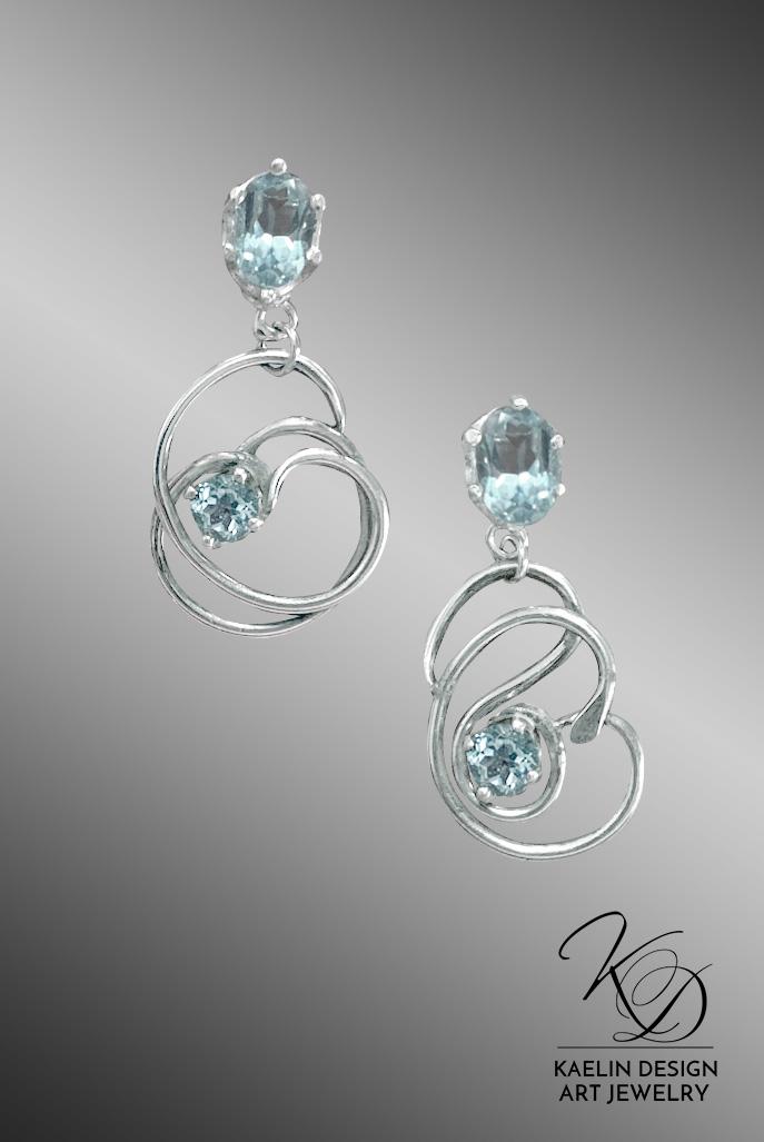 Blue Topaz Estuary Earrings by Kaelin Design Fine Art Jewelry