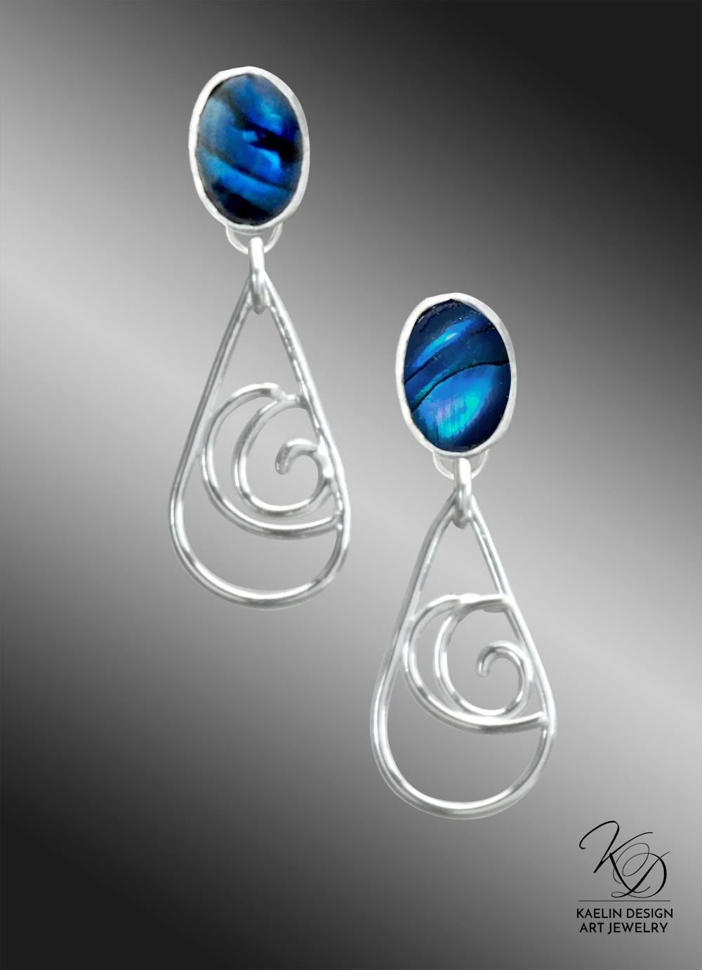 Sparkling Ocean Paua Shell Post Earrings by Kaelin Design Art Jewelry