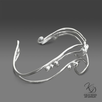 Ocean Waves Sterling Silver Hand Forged Art Jewelry Cuff Bracelet by Kaelin Design