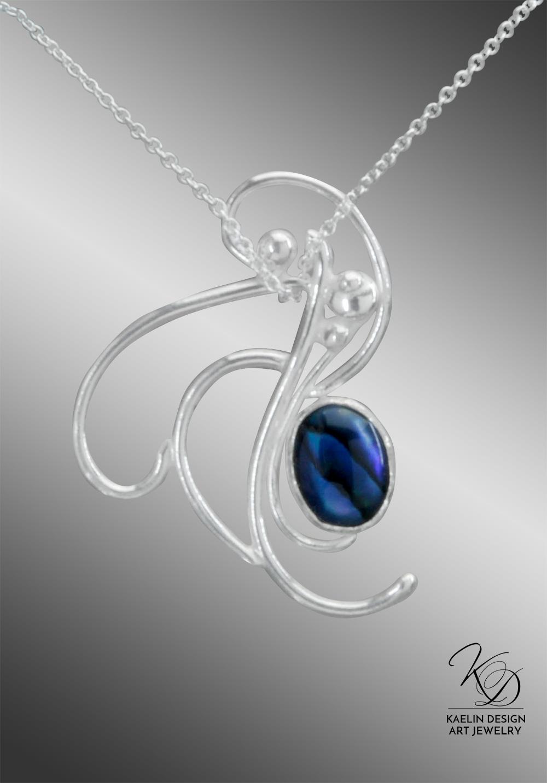 Ocean's Froth Blue Paua Ocean Inspired Art Jewelry Pendant by Kaelin Design