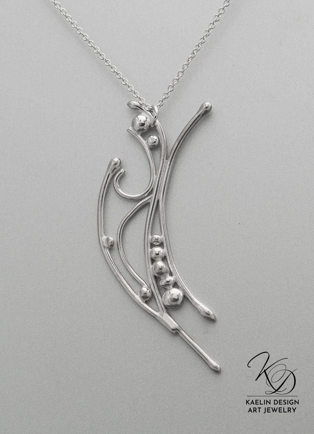 Ocean Froth Hand Forged Silver Art Jewelry Pendant by Kaelin Design