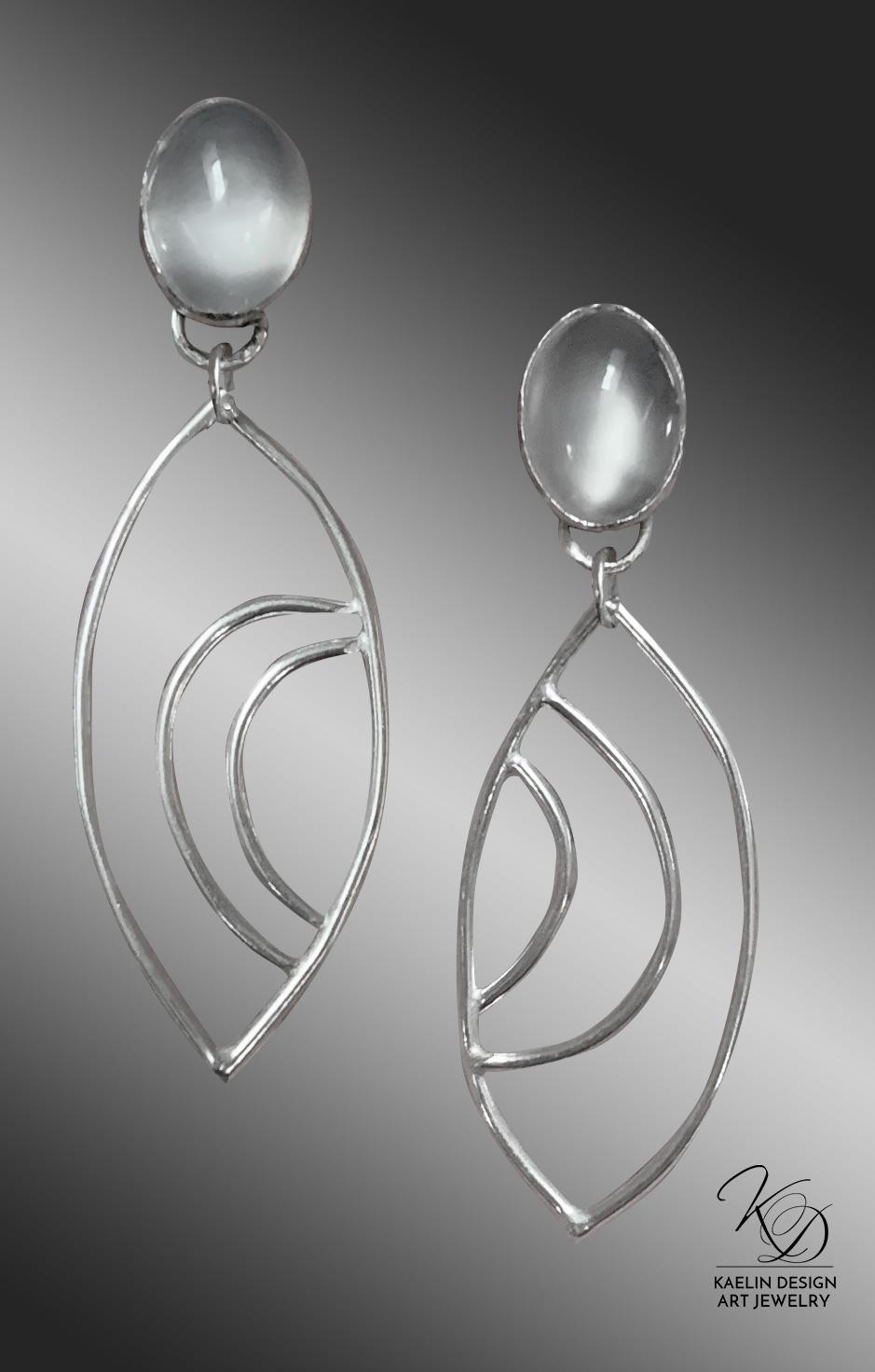Moonlit Seas Sterling Silver Moonstone Earrings by Kaelin Design Fine Art Jewelry