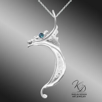 Ocean Breakwater Blue Topaz Art Jewelry Pendant by Kaelin Design