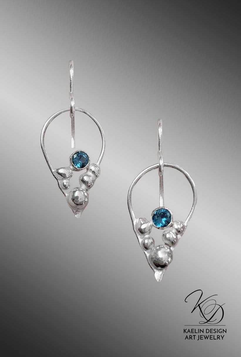 Seafoam Bubbles London Topaz Silver Art Jewelry Earrings by Kaelin Design