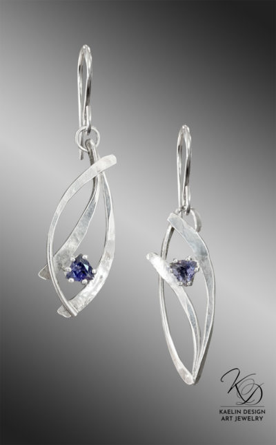 Effervescent Iolite Sterling Silver Hand Forged Art jewelry Earrings by Kaelin Design