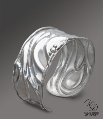 Silver Waves Sterling Silver Cuff Bracelet by Kaelin Design Art Jewelry