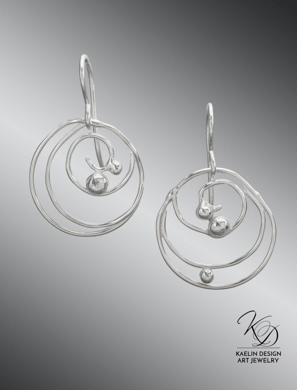 Darya Sterling Silver Ocean Earrings by Kaelin Design Fine Art Jewelry