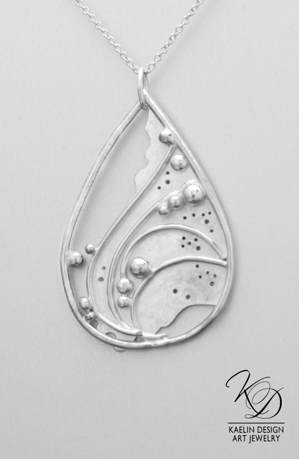 Sea Foam Sterling Silver Ocean inspired Art Jewelry Pendant by Kaelin Design