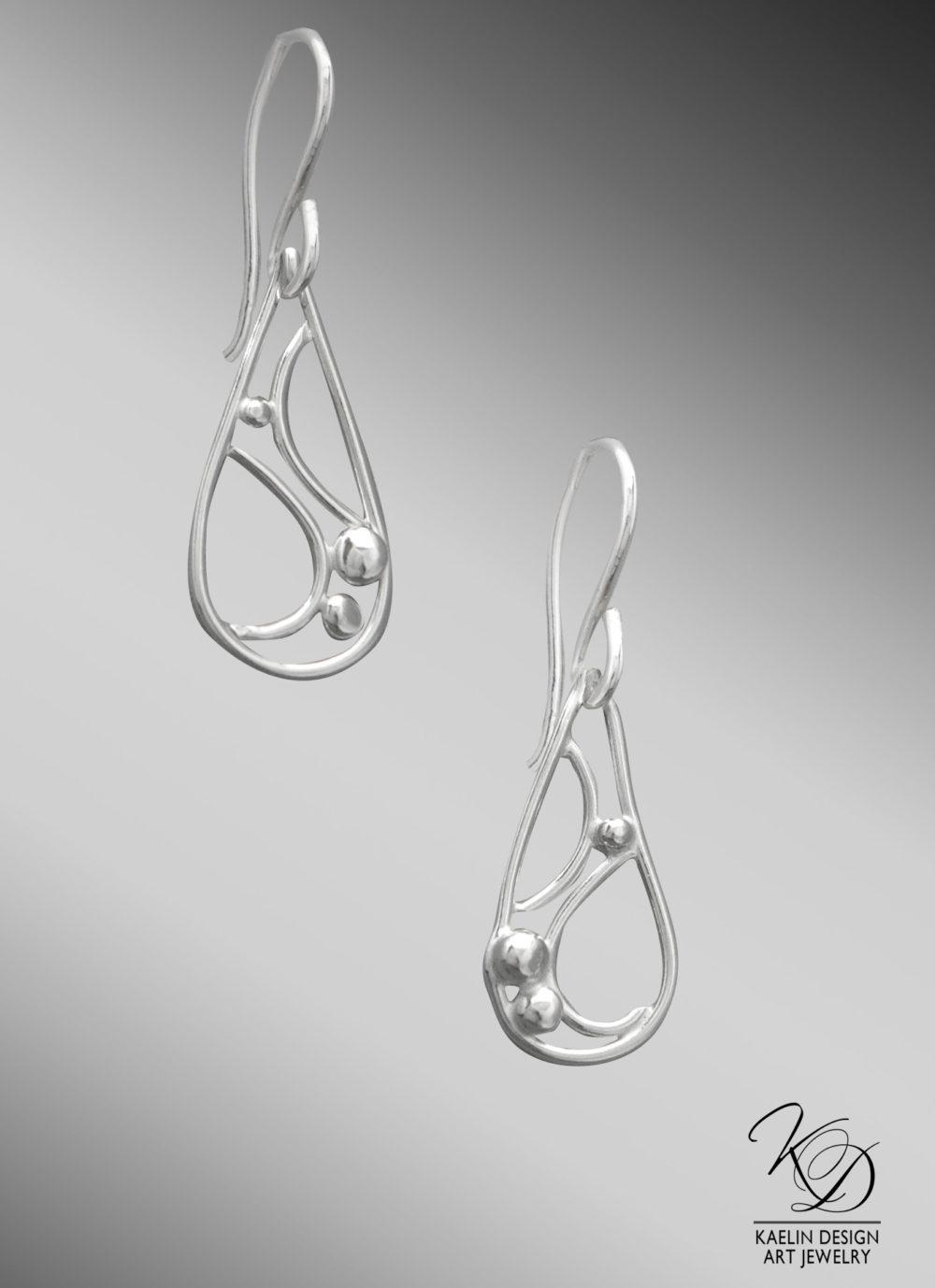 Rippling Currents Ocean Inspired Silver Earrings by Kaelin Design