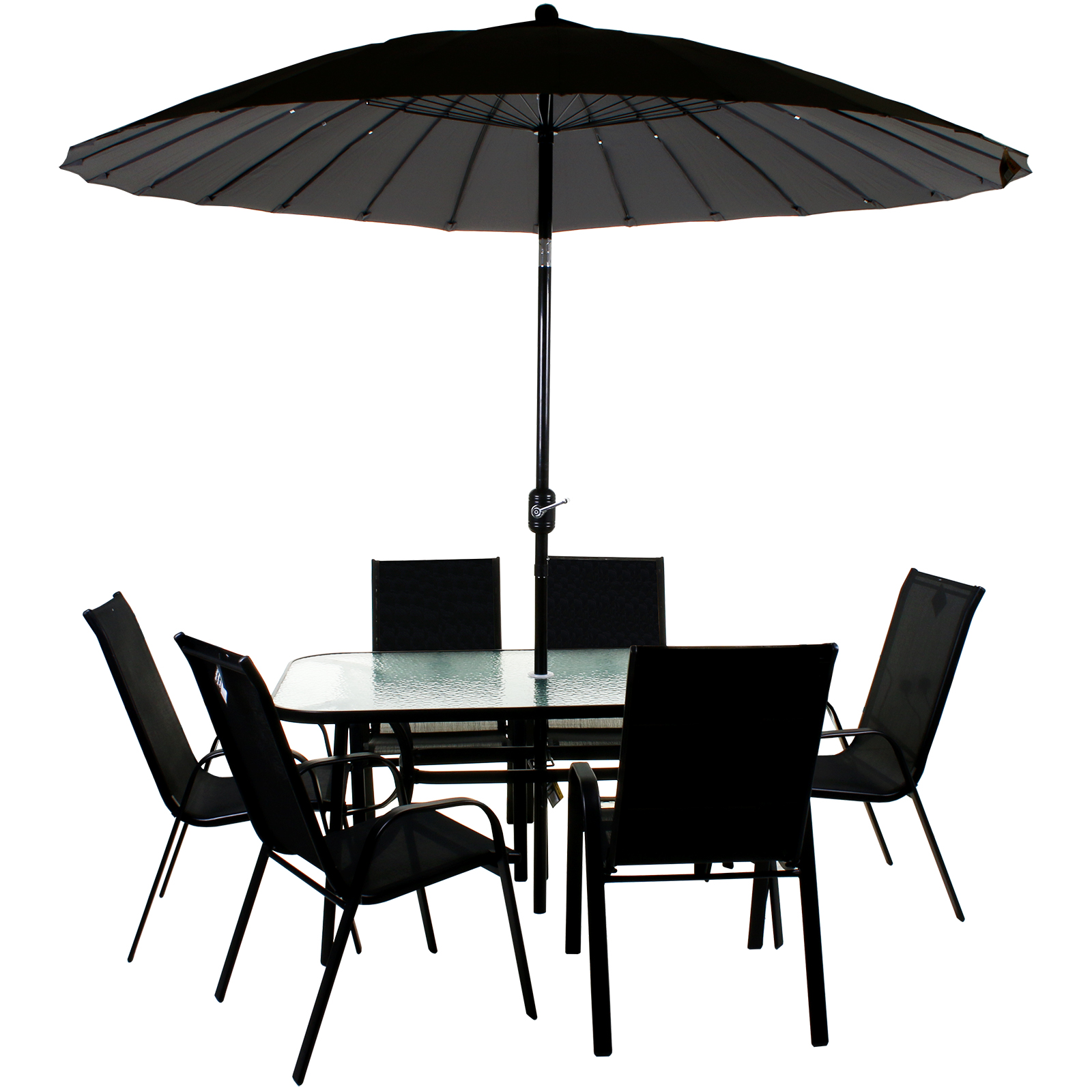 Details about GARDEN FURNITURE SET PATIO OUTDOOR LARGE SEATING DINING AREA  CHAIR TABLE PARASOL